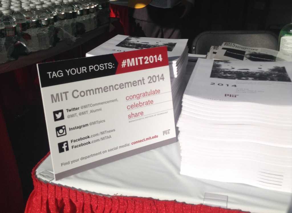 #MIT2014 standup posters on information tables at Commencement